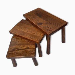 Brutalist Solid Oak Nesting Tables, Set of 3
