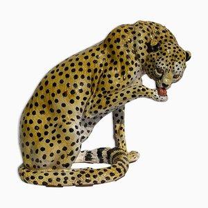 Terrakotta Gepard oder Leopard Skulptur, 1950er