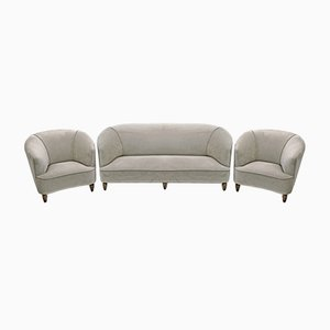 Mid-Century Modern Sofa and Two Armchairs in Velvet by Gio Ponti for Casa e Giardino, Italy, 1936, Set of 3