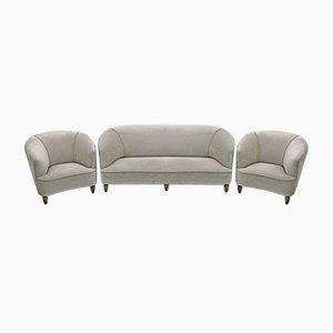 Mid-Century Modern Sofa und Zwei Sessel aus Samt von Gio Ponti für Casa e Giardino, Italien, 1936, 3er Set