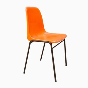French Mid-Century Modern Stackable Orange Plastic Chairs, 1960s, Set of 6