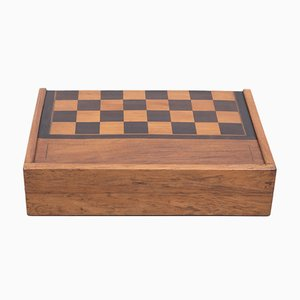 Antiker klappbarer englischer Schach- oder Spielkasten mit 5 Spielen