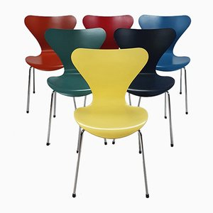 Series 7 Dining Chairs by Fritz Hansen for Arne Jacobsen, 2000s, Set of 6