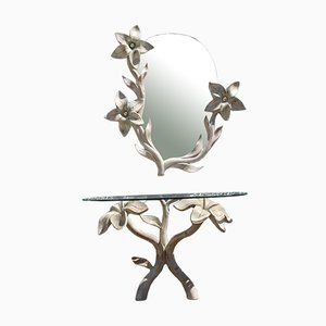 Console & Mirror in Carved Wood by Tommaso Barbi, 1970s, Set of 2