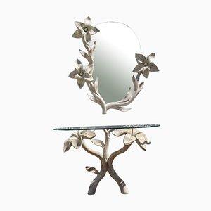 Konsole & Spiegel aus geschnitztem Holz von Tommaso Barbi, 1970er, 2er Set