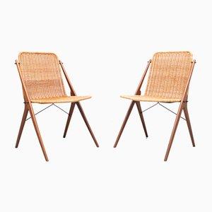 Dutch Wicker and Teak Chairs in the Style of Dirk Van Sliedregt, Set of 2