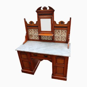 Large Walnut Washstand with Marble, 1900s