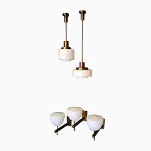 Art Deco Hanging and Wall Lamps, Set of 5