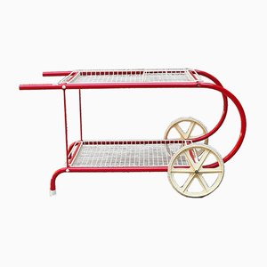 Italian Mid-Century Modern Red Metal Serving Cart from Emu, 1980s
