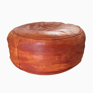 Large Mid-Century Leather Ottoman or Pouf, 1970s