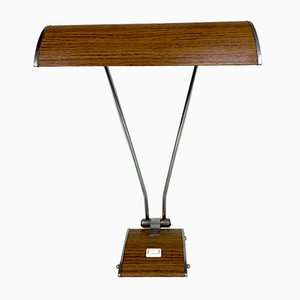 Art Deco Desk Lamp in Chromed Iron and Wood by Eileen Gray for Jumo