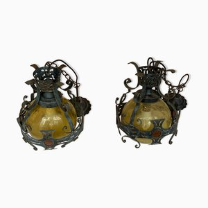 Brutalist Dutch Hammered Iron Lamps, Set of 2