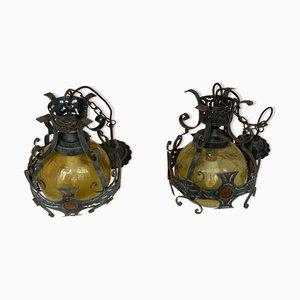 Brutalistische niederländische Lampen aus gehämmertem Eisen, 2er Set