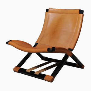 Tan Leather X Chairs by Ingmar Relling for Westnofa, Norway