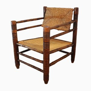 Vintage Armchair in Straw and Wood, 1950s