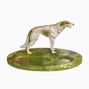 Compagnon de Bureau Barzoï en Bronze Peint à Froid