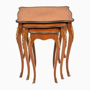 Tables Gigognes Antiques en Parqueterie, France, Set de 3