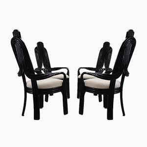Black Lacquered Wood Chairs with Seats in Bouclè, 1980s, Set of 4