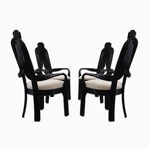 Schwarz lackierte Holzstühle mit Sitzen in Bouclè, 1980er, 4er Set