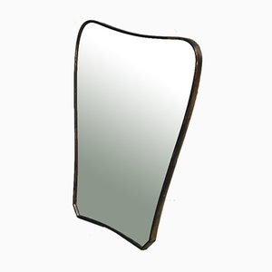 Wall Mirror with Brass Frame, 1950s