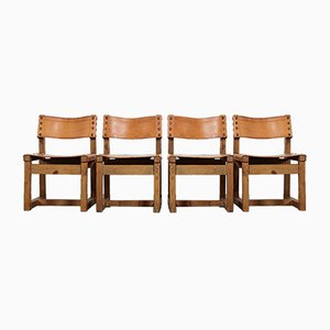 Brutalist Dining Chairs in Oak and Leather, 1970s, Set of 4