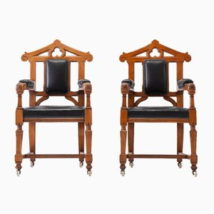 Late 19th Century Gothic Oak Armchairs, Set of 2
