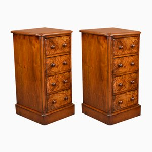 Antique Victorian Walnut Bedside Chests of Drawers, Set of 2