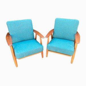 Oak and Teak Cigar Chairs by Hans J Wegner for Getama, Set of 2