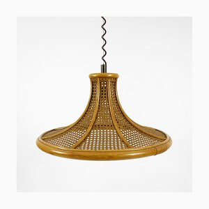 Bamboo and Cane Adjustable Pendant, 1960s