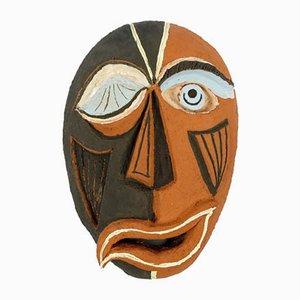 Vintage Keramik Maske im kubistischen Stil