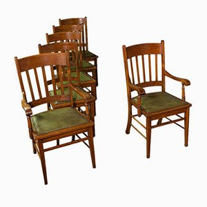 Antique English Arts and Crafts Carver Dining Chairs in Oak, Set of 6