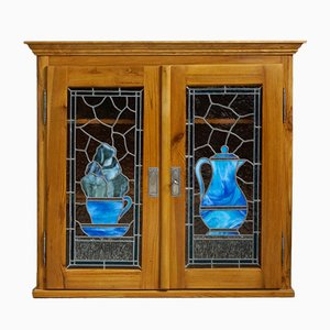 Art Nouveau Wall Cabinet with Lead Glass Pictures, 1900s