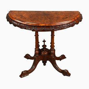 Table à Cartes Demi-Lune Victorienne Antique en Noyer