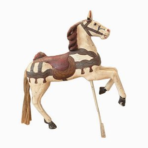 Antique Carousel Horse in Hand Painted Wood