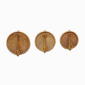 Appendiabiti in bambù e vimini, anni '70, set di 3