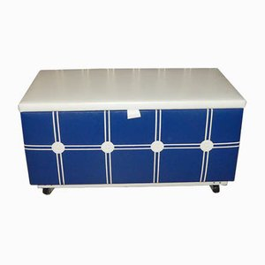 Laundry Chest or Bench on Wheels in White & Blue, 1970s