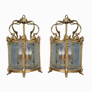 Laternen aus vergoldeter Bronze & graviertem Glas, 1900er, 2er Set