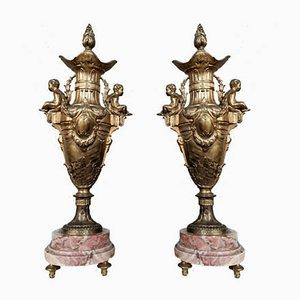 Napoleon III Cassolettes with Putti in Gilt Antimony, Set of 2
