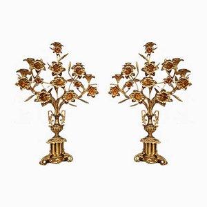Church Kerzenhalter aus Bronze mit goldener Patina, 2er Set