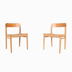 Oak Model 75 Dining Chairs by Niels Otto (N. O.) Møller, Denmark, 1960s, Set of 4