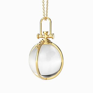 Modern Sacred 18k Yellow Gold Open Cage Crystal Orb Pendant with Natural Rock Crystal by Rebecca Li