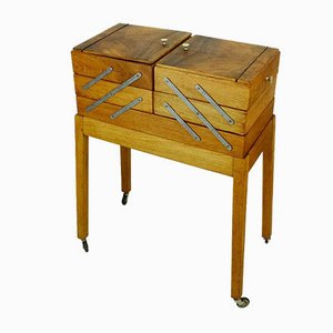 Oak & Walnut Utensilo Sewing Box on Frame with Rollers, 1930s