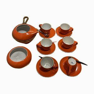 Art Deco Coffee Set by Zsolnay, Set of 16