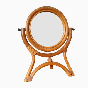 Vintage Rattan Table Mirror