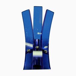 Apliques de pared de vidrio azul de Veca, años 60. Juego de 2