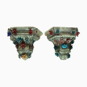 Vintage Murano Glas Wandhalter, 2er Set