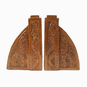 Antique Repousse Copper Bookends by P. Coquelet