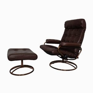 Norwegian Copper & Leather Extendable Stressless Easy Chair and Ottoman from Ekornes, 1970s, Set of 2