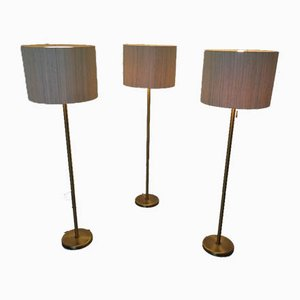Large Brass Floor Lamps from Staff, 1960s, Set of 3