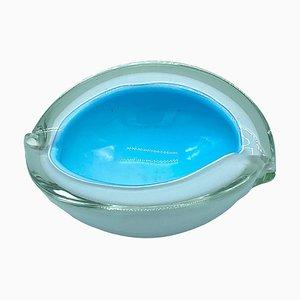 Sommerso Glasschale in Weiß & Blau von Cenedese, Italien, 1970er